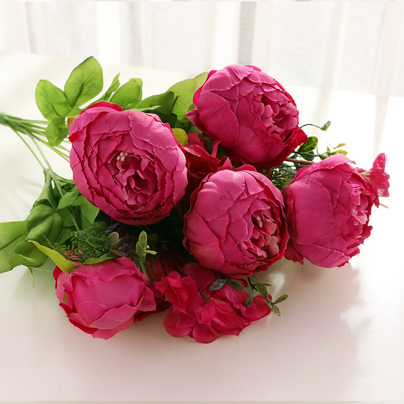 1Bunch Peony Silk Fake Artificial Flowers For Home And Hotel Decoration 4