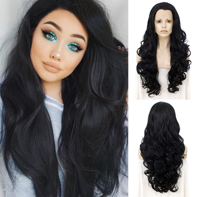 Imstyle черный кружевной парик, длинные волнистые синтетические кружевные передние парики для женщин, Термостойкое волокно, бесклеевая натуральная линия волос, парик для косплея