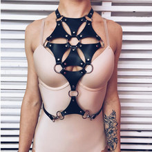 Leather Harness For Female Punk Harajuku Bust Stockings Garter Sexy Choker Belt Suspenders Straps Waist Bondage BDSM Lovely Xun(China)