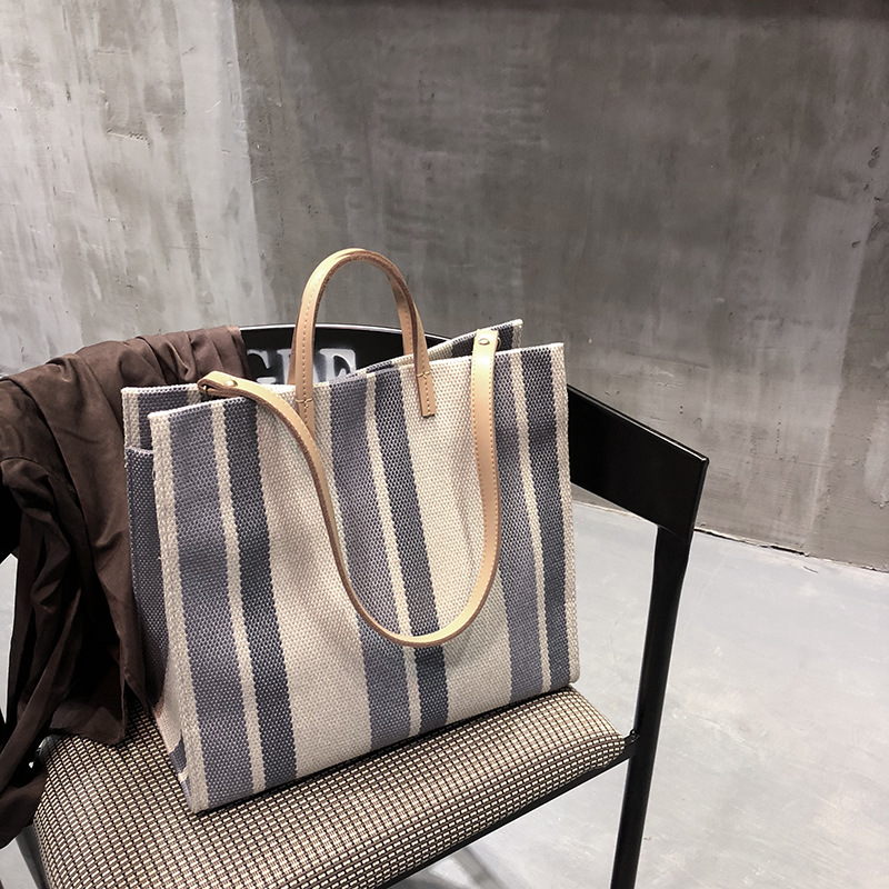 Susen Womens Bags Fashion Striped Large Capacity Shoulder Bags Handbag High Quality Canvas Casual Tote Chic Hand Bag Briefcase