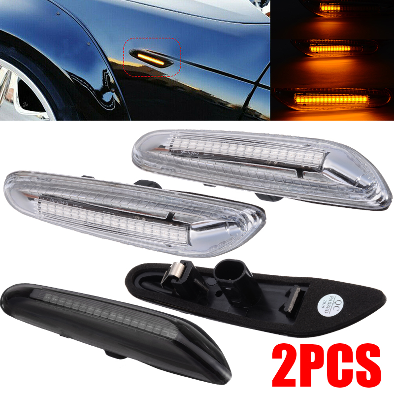 New Pair LED Flowing Side Marker Turn Signal Light Front Left Right Replacement For BMW E46 E60 E82 E92 E93-in Signal Lamp from Automobiles & Motorcycles