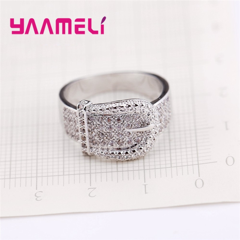 New Shiny Belt Ring for Women Exquisite Austrian Small Crystals Bijoux High Quality 925 Serling Silver Jewelry