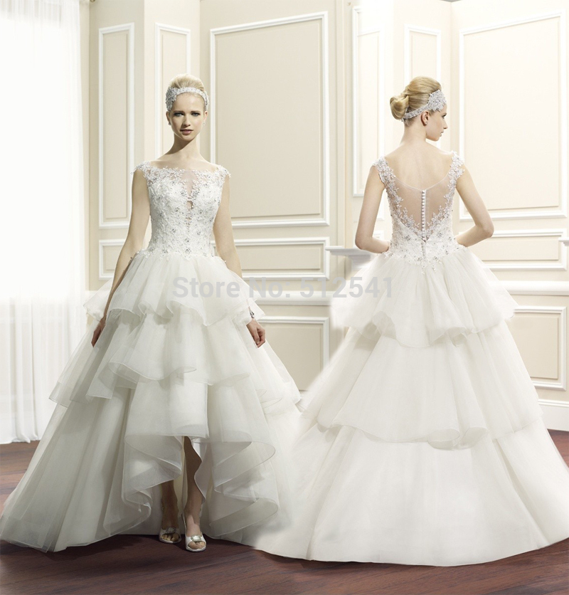 Hi-Lo Lace Wedding Dress Sheer A Line Sweetheart Organza Tiered Sequin Beads Layers 2019 Backless Bridal Gown