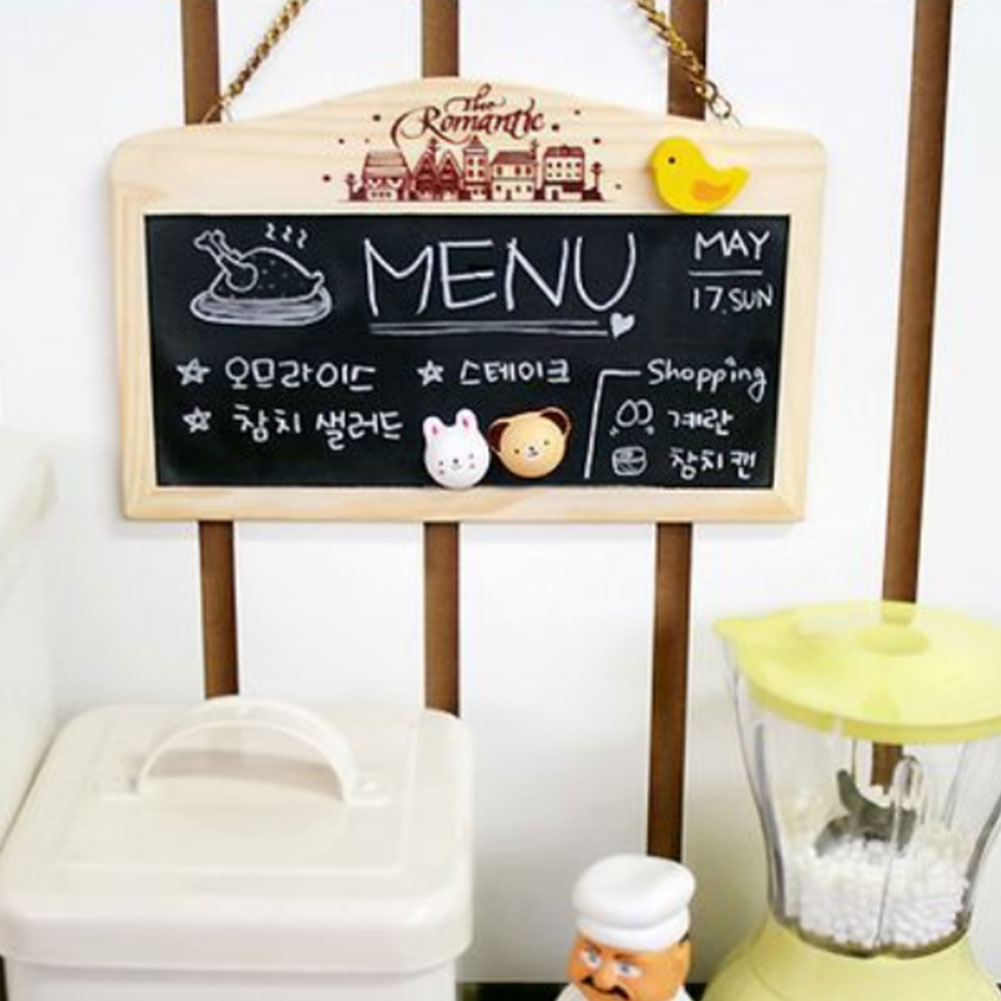 Decorative Magnetic Wooden Hanging Mini Double Sided Coffee Shop Restaurant With Eraser Writing Message Leave Bar Blackboard