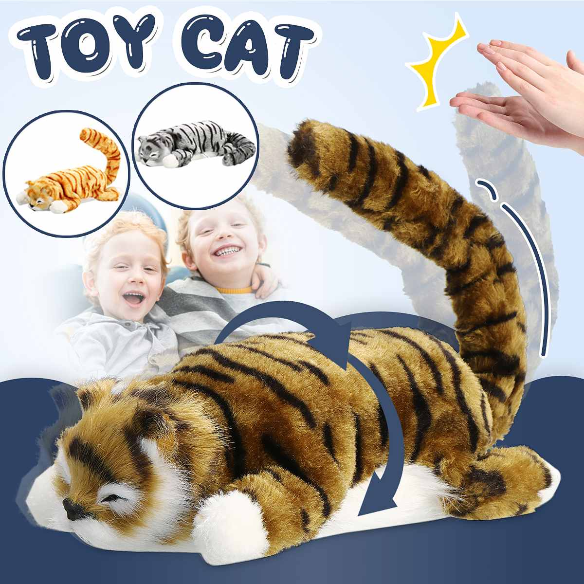 Interactive Sound Control Toys Electronic Robot Cat Kid Plush Electronic Toy Clap And Tail Swing For Children Kids Baby Gift