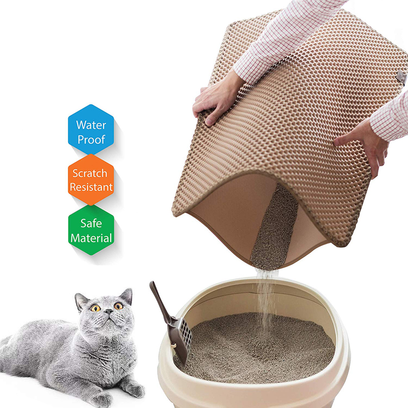Waterproof Pet Cat Litter Mat EVA Double Layer Cat Non-slip Pet Litter Trapping Pad Household Sand Cleaning Mat Floor
