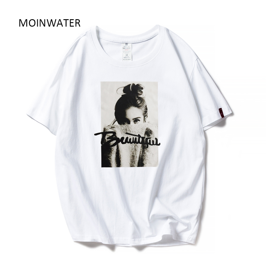 MOINWATER 2019 New Women Fashion T Shirts Female Cotton White Black Tees&Tops Lady High Street Casual T-shirt MT1943