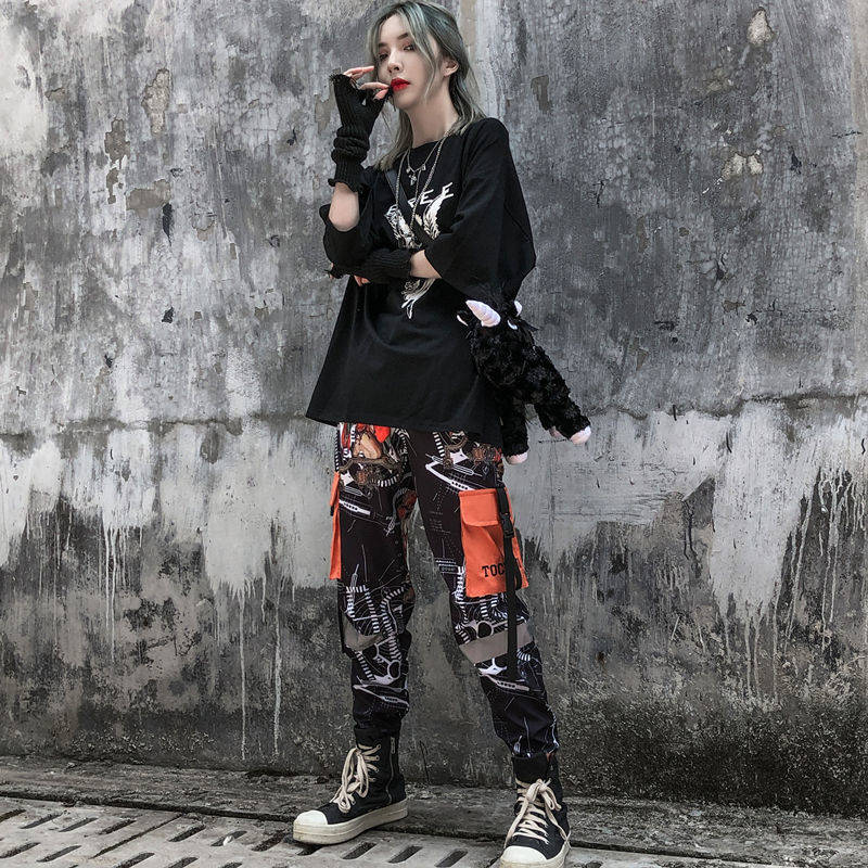 Cool Cargo Pants Women Fashion Pockets Patchwork Trousers Woven High Waist Streetwear Pants Hip Hop Autumn Dance Pants Men Women