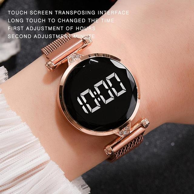 Reloj con imán Digital para mujer, banda de malla de acero inoxidable, pantalla LED, regalo 2