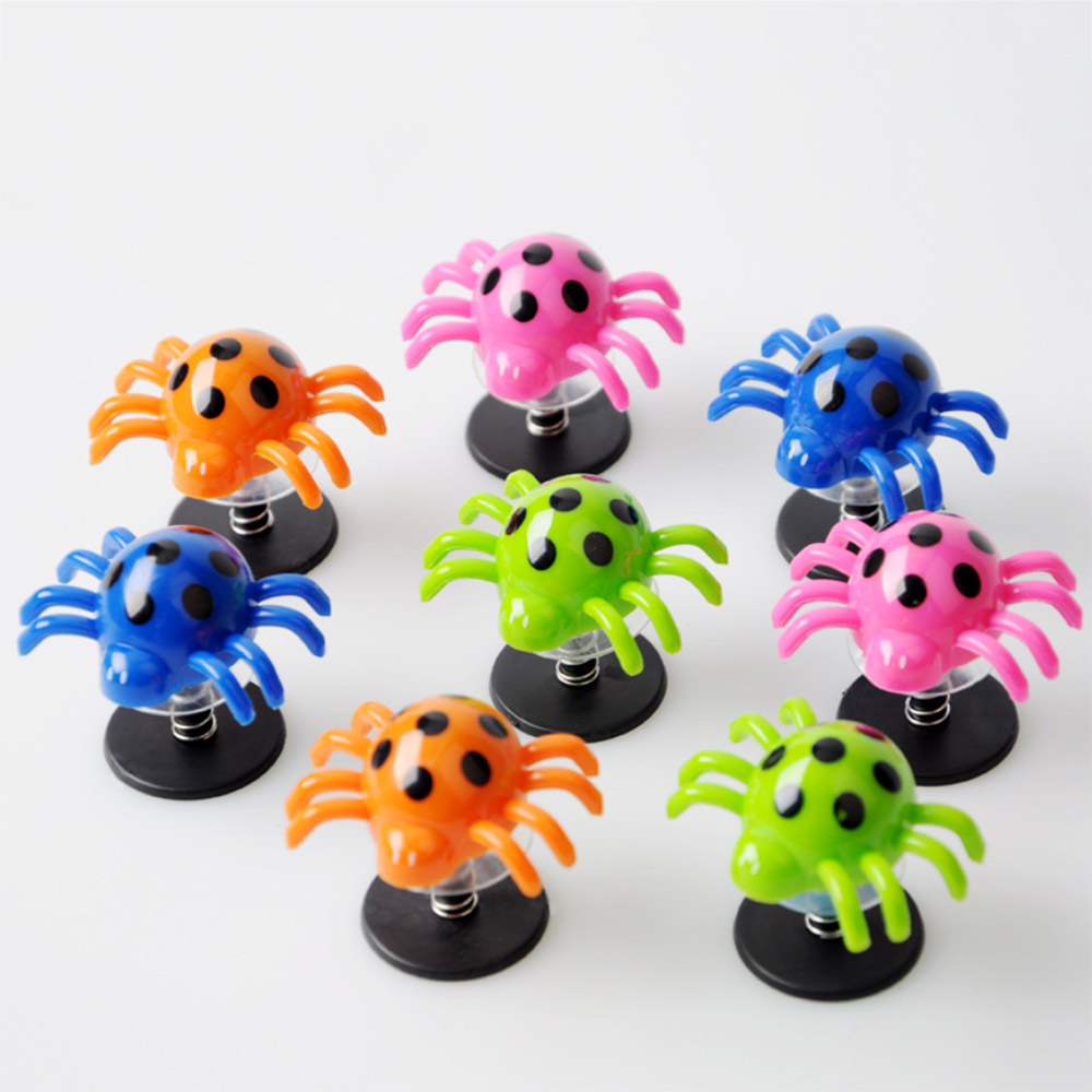 20Pcs Jumping Spider Colorful Bounce Spider Anti Stress Toys Party Supplies Gifts Kids Funny Toys Bouncing Spiders Pedestal Toy