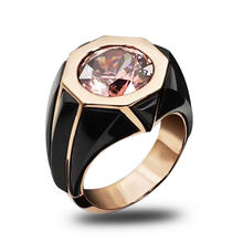 Уникальный восьмиугольник розовый обручальное кольцо с кристаллами