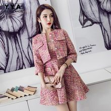 Autumn Print Tweed 2 Piece Set Women Slim OL Elegant Womens Suits Short Jacket Coat + Dress Fashion Silk Office Female Sets S-XL(China)