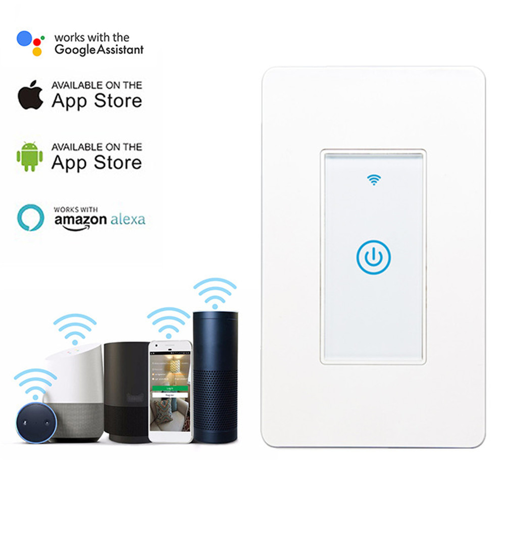 Smart Wifi Switch US 1/2/3 Gang Touch Panel Wireless Remote Control Light Switch Compatible Alexa Google Home Tuya APP
