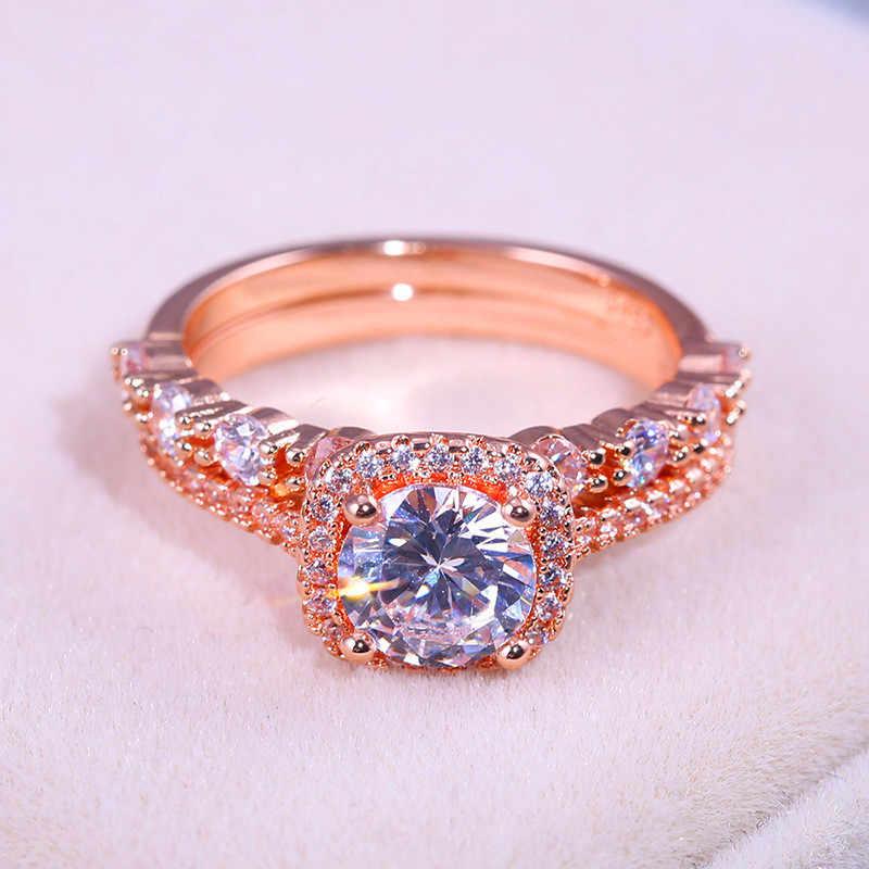 高級女性のラウンドクリスタルリングセットファッション愛の約束結婚指輪クラシック 18KT ローズゴールドの婚約指輪