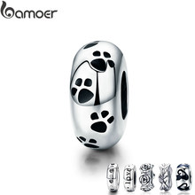 BAMOER Authentic 925-sterling-silver Dog Animal Footprint Cat Heart LOVE Spacer Charm Fit Bracelet DIY Original SCC594(China)