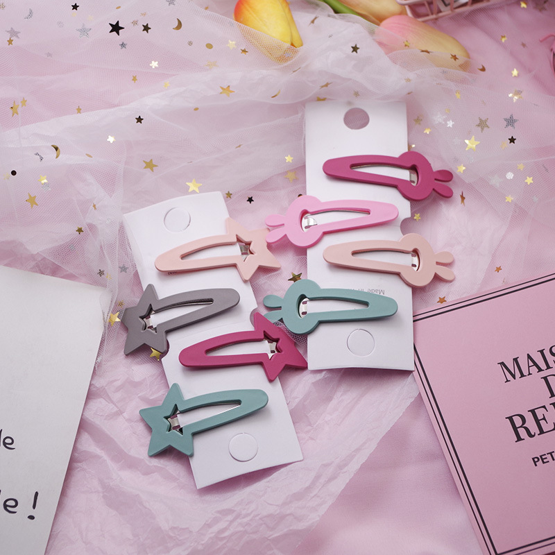 4 PCS New Lovely Star Rabbit Candy Color Girls Hairpins Hair Clip Kids Headwear Children Hair Accessories Baby BB Clips