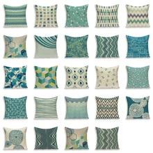 Geometric Cushion Cover Blue Cushions Home Sofa Decor Custom Linen Pillow Covers Stripe Outdoor Pillowcase Kissen