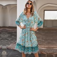 2021 Spring New Vingate Print Dress Women Bohemian Lantern Sleeve High Waist Bandage