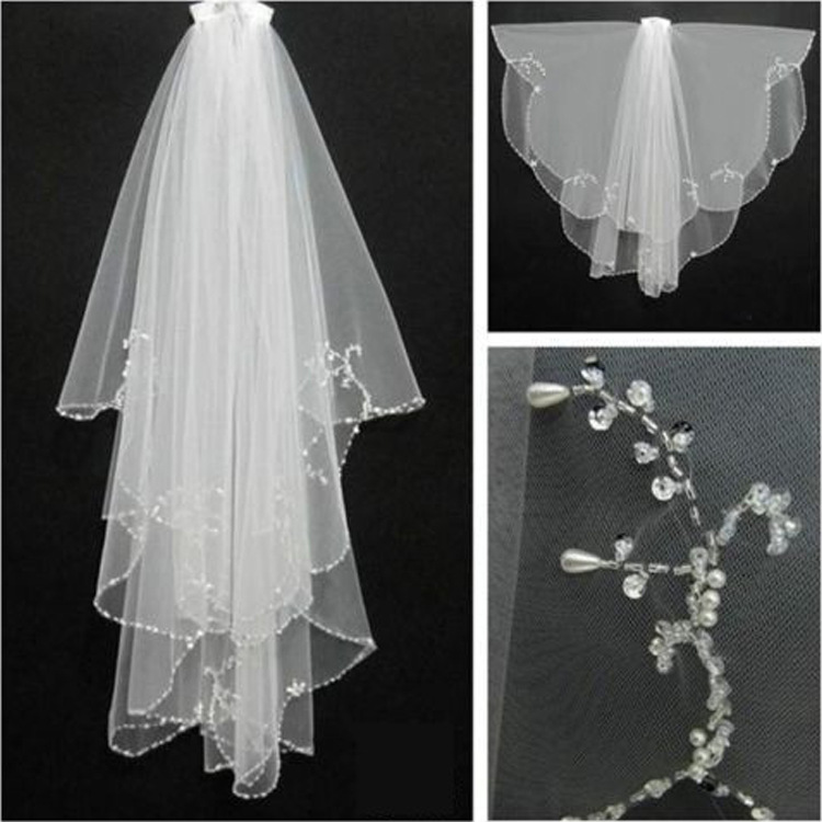 Beaded Hook Wedding Accessories Bridal Veil Korean White Multilayer Lace Manual Veil Sequins Comb
