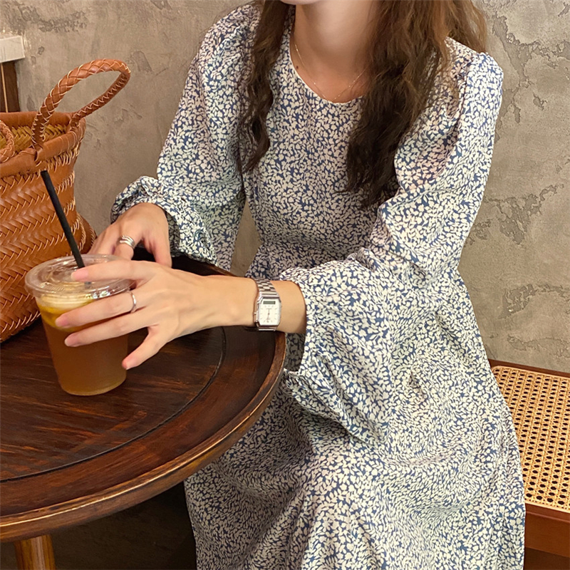 He58349f5f25c485db6927d1be4decfb0R - Autumn O-Neck Lantern Long Sleeves Floral Print Midi Dress