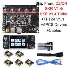 Bigtreetech skr v1.4 skr v1.4 turbo placa de controle + tft24 v1.1 atualização da tela toque skr v1.3 tmc2209 tmc2208 drv8825 para ender 3