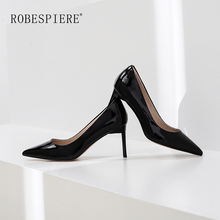 ROBESPIERE Elegant Fashion Office Lady Pumps Quality Genuine Leather Pointed Toe High Heel Shoes Sexy Red Party Wedding A8