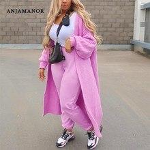 ANJAMANOR Solide Strick Übergroßen Lange Strickjacke Pullover für Frauen Fashion Casual Mantel Rosa Weiß Outwear Dropshipping D48-FA56