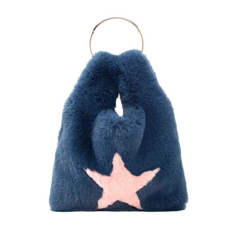 Harajuku плюшевые женские сумки дизайнерские с металлической ручкой сумки роскошные из искусственного меха Chians плечо Crossbdoy сумки милый большой кошелек зима