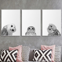 Crooked Owl Wall Art Poster Painting Black White Decorative Nordic Canvas Picture Modern Print Animal Bird for Living Room Decor