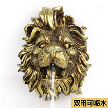 Fountain nozzle head/wall-mounted lion head resin crafts/home ornaments landscape water device/pool outdoor sculpture