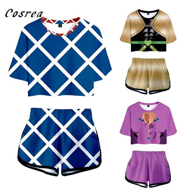 Japanese Anime Jojo Bizarre Adventure Cosplay Costume Sportswear Girls 3D Jojo Bizarre Adventure T-shirt shorts Suits Women
