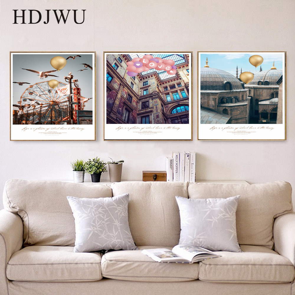 Nordic Landscape Modern Architecture Canvas Painting Art Home Printing Posters Wall Pictures for Living Room AJ00241