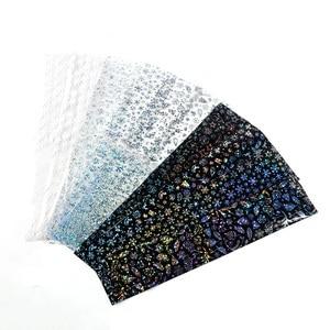 Image 3 - 10 stks/set Witte Sneeuwvlokken Holografische Stickers Nail Folies Transfer Adhesive Wraps Kerst Decoraties Manicure Decals TRA21 1