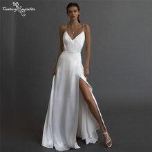Sexy Wedding Dresses 2021 High Slit Spaghetti Straps Backless A-Line Simple Bride Dress Beach Bridal Gowns Vestido De Noiva