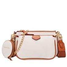 Modne łańcuszki damskie torebki na ramię projektant szeroki pasek torba luksusowa Pu skóra Crossbody torba pani mała torebka 3 torba zestaw