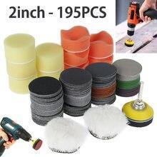 195 pièces 2 pouces disques de ponçage carbure de silicium crochet & boucle flocage papier de verre grain 60-10000 papier de ponçage rond disque feuille de sable