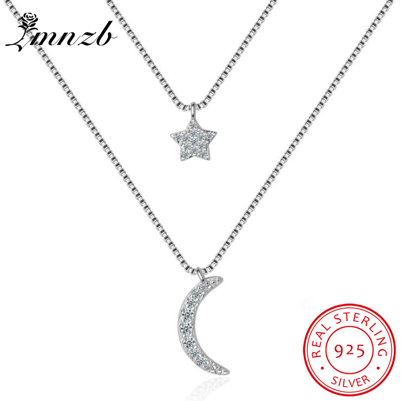 LMNZB New Fashion Layered Choker Necklace Moon Stars Pendant Necklace Pure 925 Silver Multistrand Necklace For Women LD181