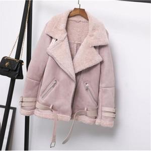 Image 3 - 여성 스웨이드 자켓 모피 코트 느슨한 두꺼운 따뜻한 가짜 양모 코트 새로운 겨울 오토바이 양 모피 한 여성 모피 자켓 겉옷
