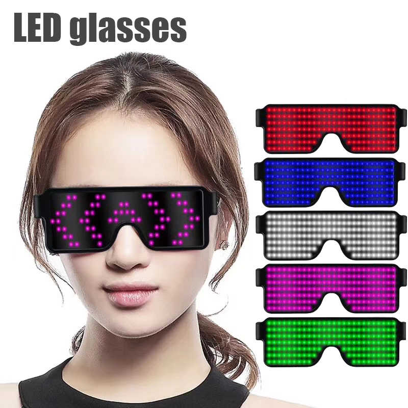 Parties Halloween Nightclub Christmas White Customizable LED Glasses Light Up USB Rechargeable 8 Patterns LED Luminous Glasses for Raves
