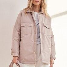 Malina-Parkas con cuello vuelto para mujer, abrigos con cinturón de corbata a la moda, chaquetas de algodón con una hilera de botones para mujer