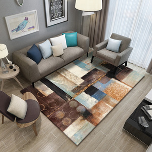 Image 2 - Simple Carpet Rug For Living Room Geometric Wood Floor Rug Non slip Antifouling Carpet For Bedroom Parlor Factory Direct Supply