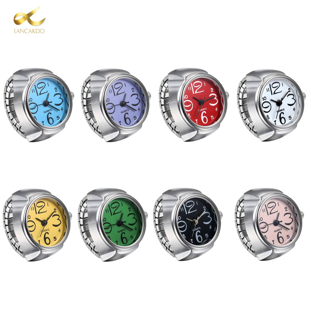LANCARDO Fashion Dial Quartz Analog Watch Unisex Men Women Couple Ring Watch Creative Elastic Stainless Steel Finger Watch