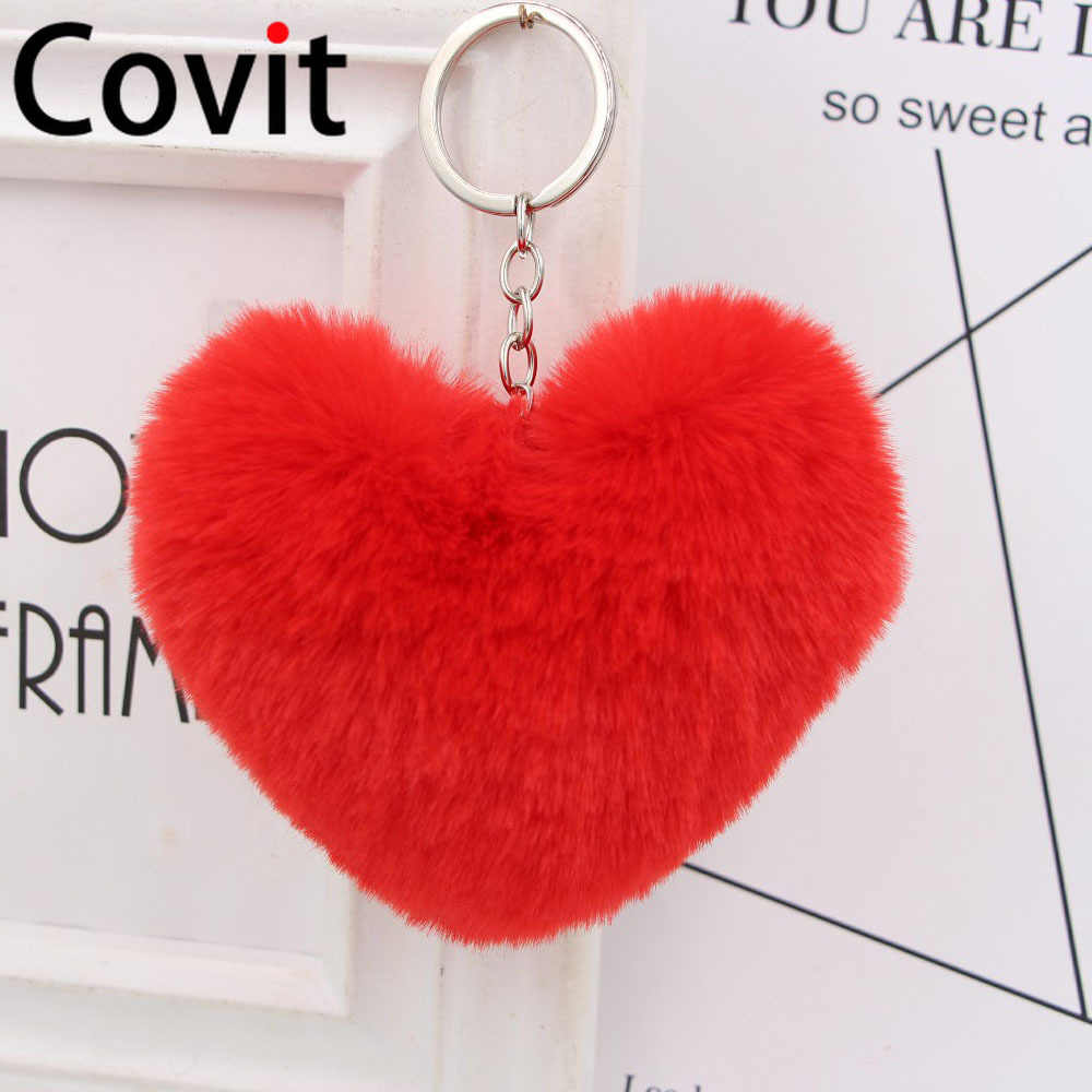 Fofo Fur Pompom Pompom Keychain Macio Adorável Heart-shaped Faux Pompons Bolas de Pêlo de Coelho Bolsa Carro Dom Chaveiro keychain