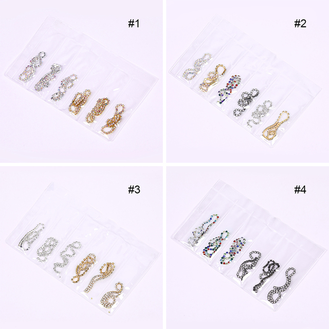 6 Pcs/Bag Metal Nail Chain Mixed Size