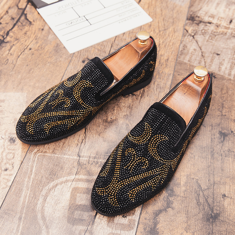 Movechain Men's Suede Rhinestones Loafers Mens Casual Outdoor Driving Moccasins Men Trendy Party Shoes Flats EU Sizes 38-45