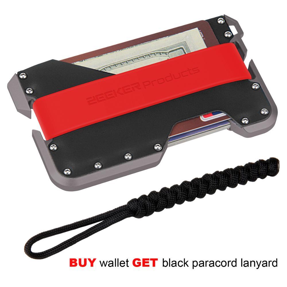 ZEEKER New Aluminum RFID Blocking Credit Card Holder Genuine Leather Minimalist  Wallet Grey Metal For Men&Women