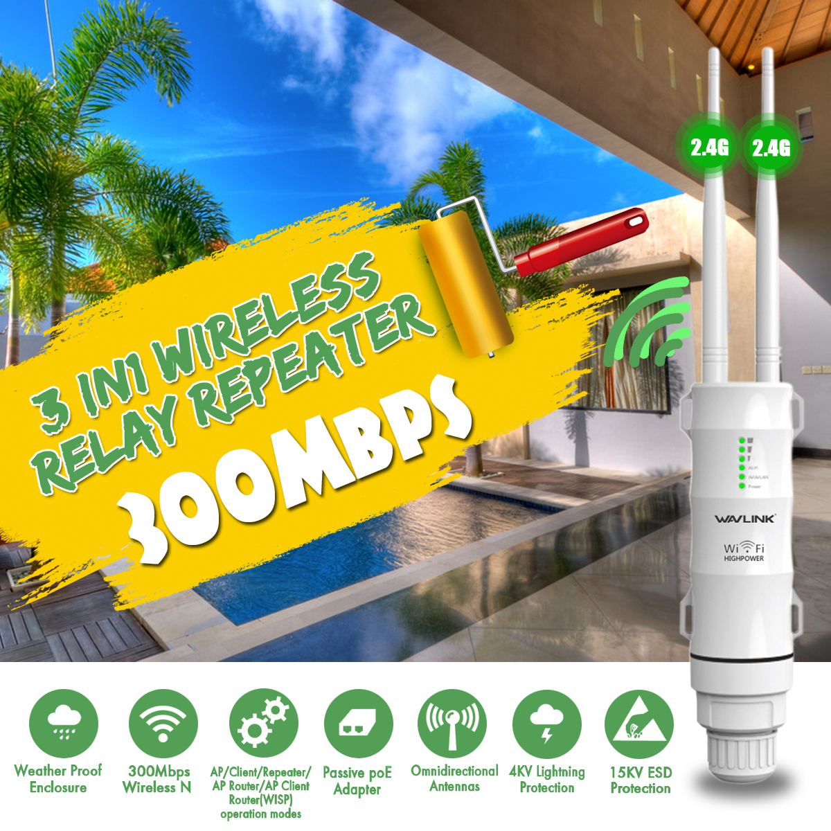 Wavlink 3in1 2.4G/300Mbs Wireless Relay Repeater WN570HN2 Wifi Extender High Power Outdoor Wifi Repeater Wireless Wifi Router