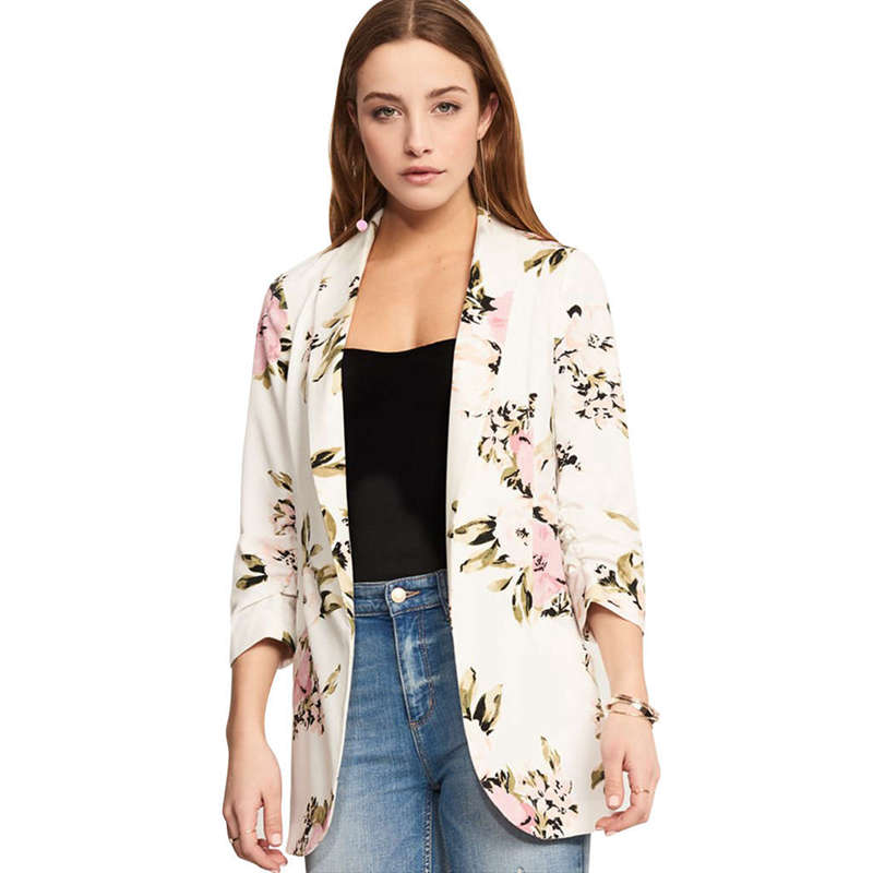 Coat Blazer Jacket Open-Cardigan Long-Sleeve Lapel Floral-Print Elegant Casual Women