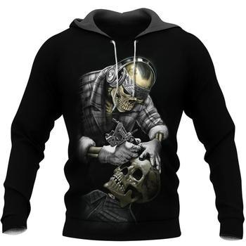 Fashion Men women Halloween hoodies Viking Odin Tattoo skull 3D Print hooded Sweatshirt Casual Street costume sudadera hombre 1