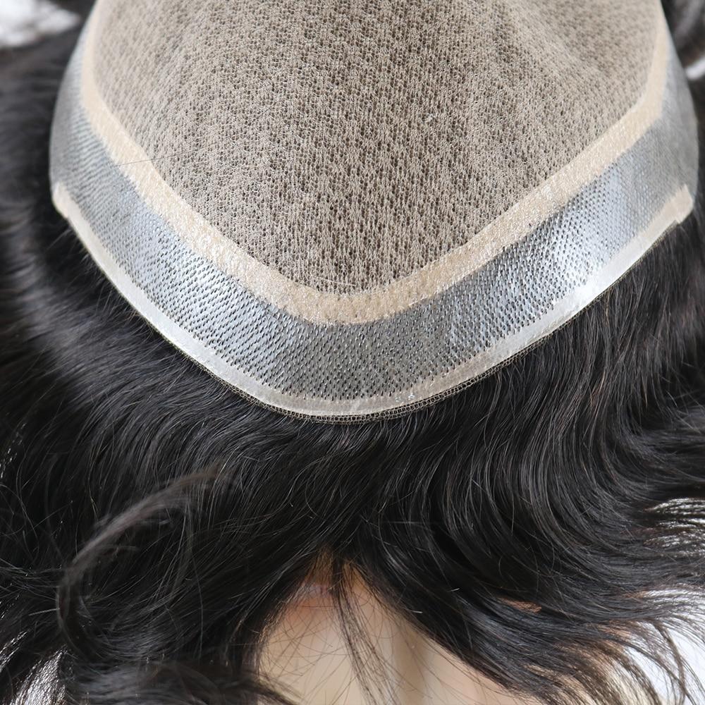 No Knots Natural Looking Straight Silk Top Wig Remy Human Natural Hair Men Toupee Invisible Knots Silk Base